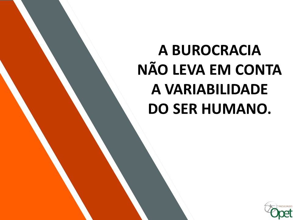 A BUROCRACIA NÃO LEVA EM CONTA A VARIABILIDADE DO SER HUMANO.