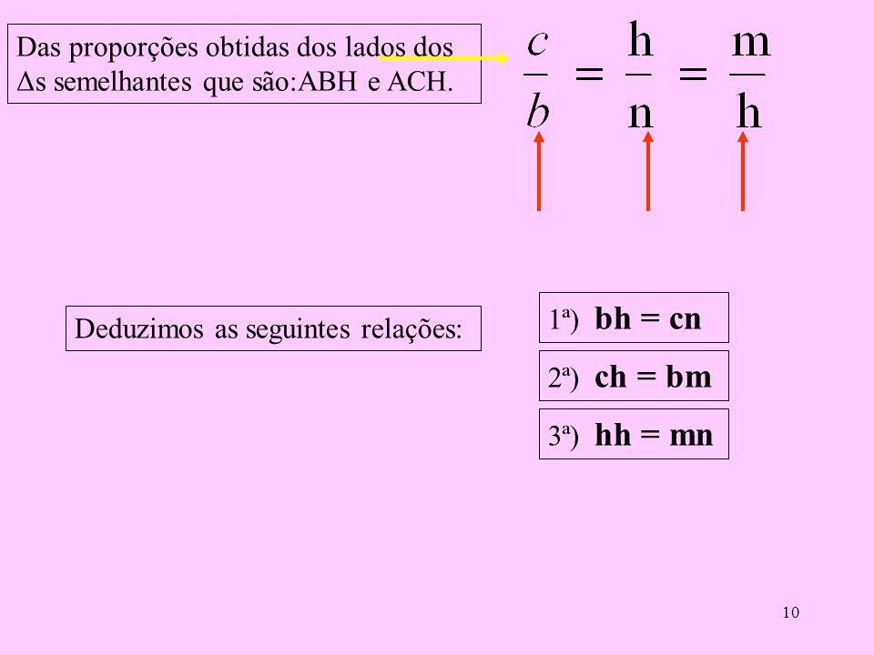 Das proporções obtidas dos lados dos Δs semelhantes que são:ABH e ACH.