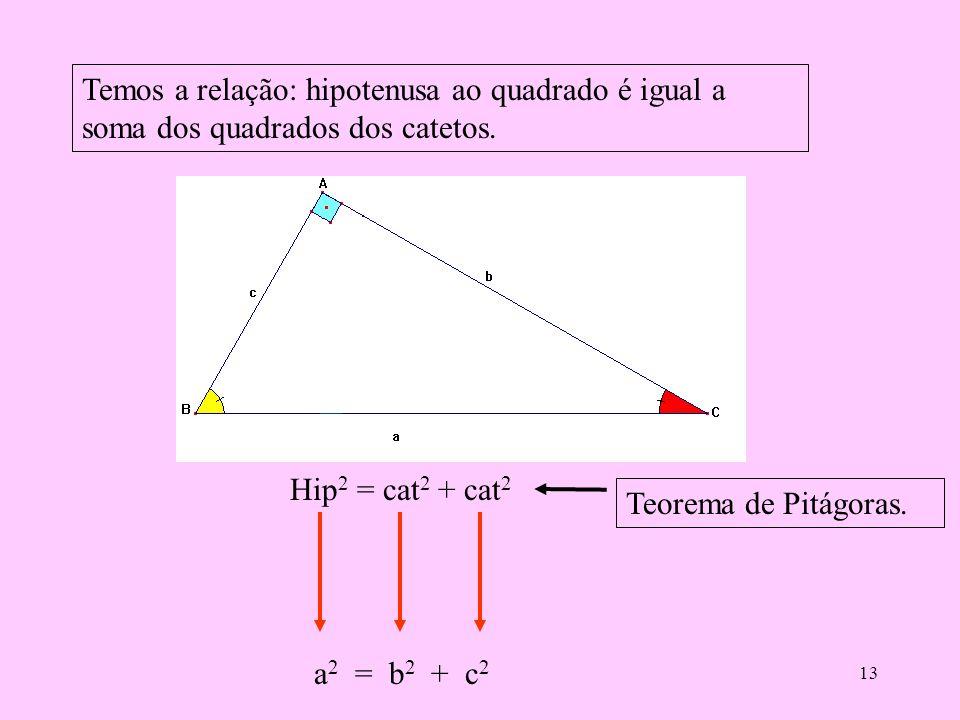 Temos a relação: hipotenusa ao quadrado é igual a soma dos quadrados dos catetos.