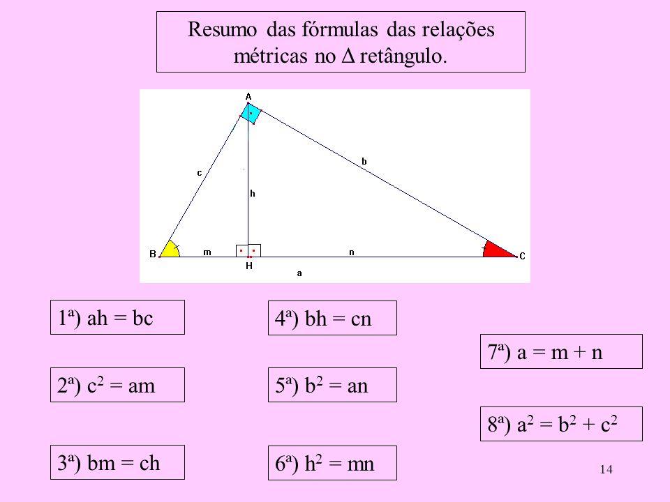 Resumo das fórmulas das relações métricas no Δ retângulo.