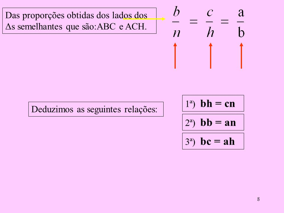 Das proporções obtidas dos lados dos Δs semelhantes que são:ABC e ACH.