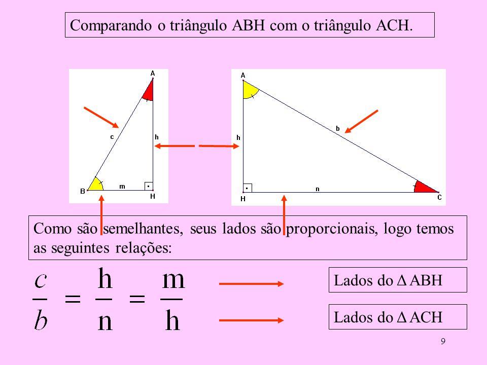 Comparando o triângulo ABH com o triângulo ACH.