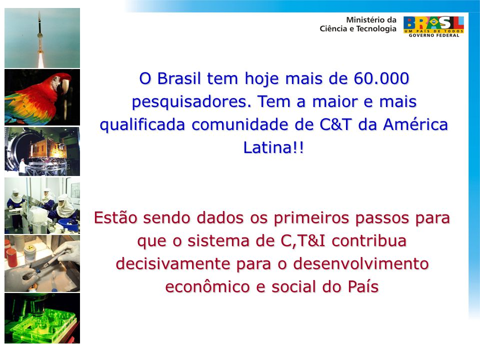 O Brasil tem hoje mais de 60. 000 pesquisadores