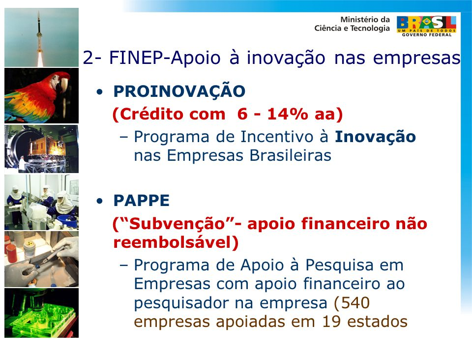 2- FINEP-Apoio à inovação nas empresas