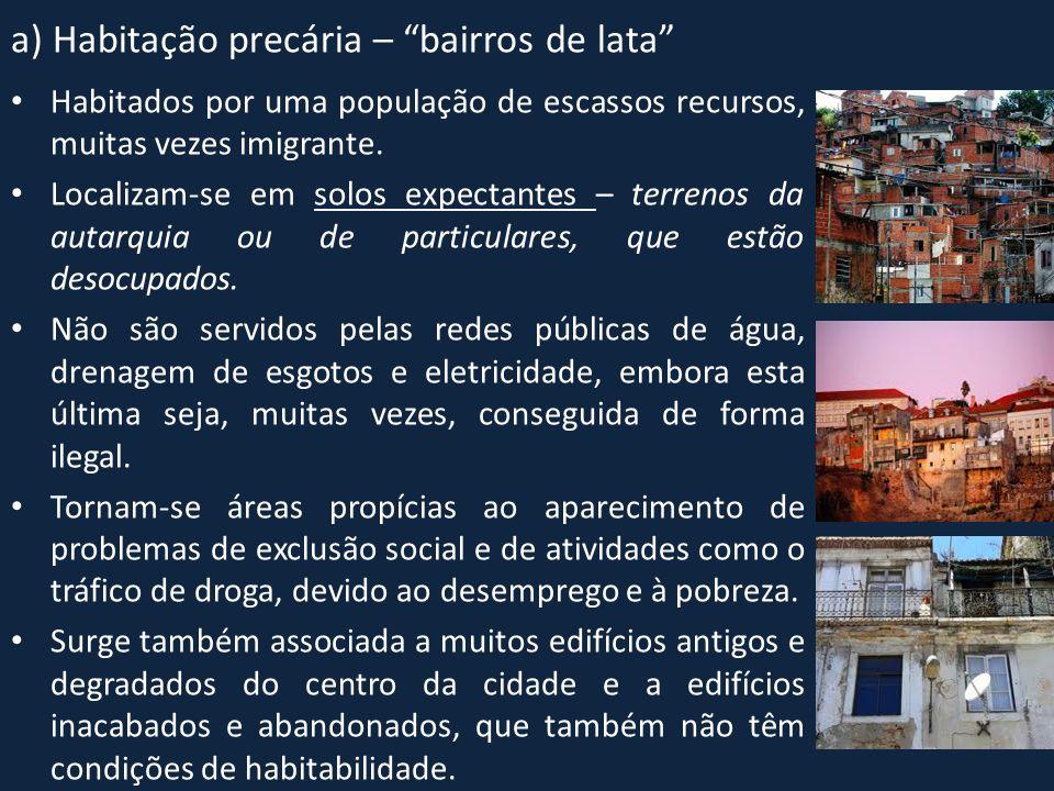 a) Habitação precária – bairros de lata