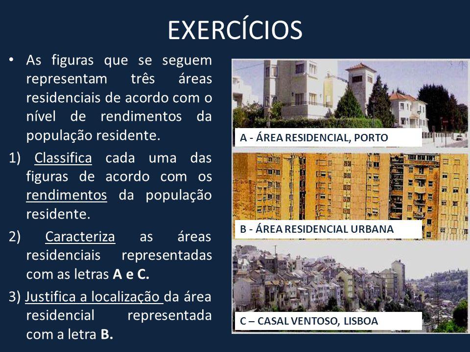 EXERCÍCIOS As figuras que se seguem representam três áreas residenciais de acordo com o nível de rendimentos da população residente.