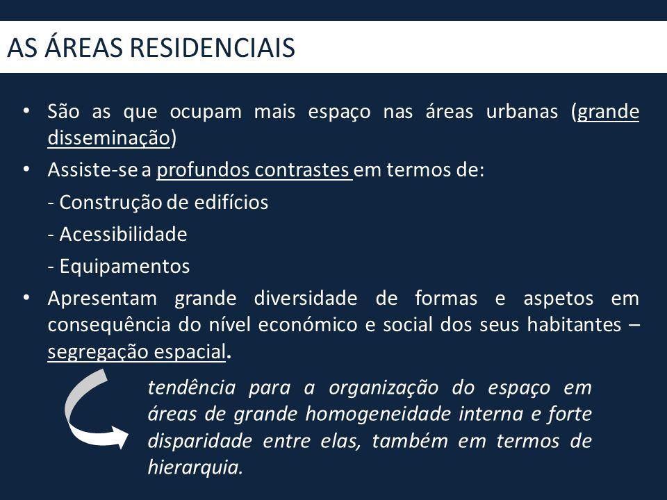 AS ÁREAS RESIDENCIAIS São as que ocupam mais espaço nas áreas urbanas (grande disseminação) Assiste-se a profundos contrastes em termos de: