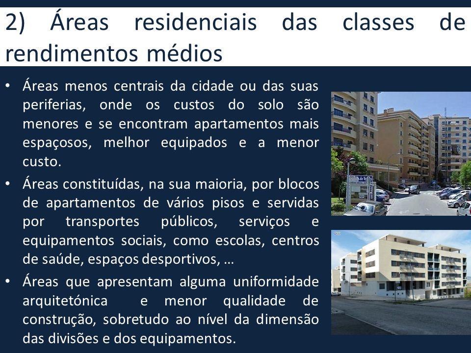 2) Áreas residenciais das classes de rendimentos médios