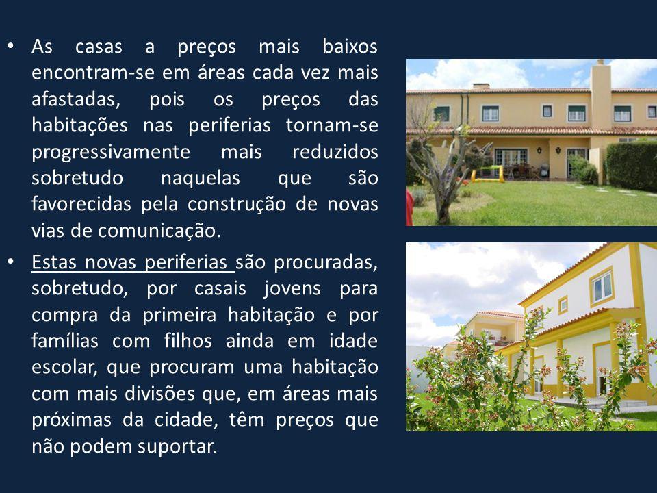 As casas a preços mais baixos encontram-se em áreas cada vez mais afastadas, pois os preços das habitações nas periferias tornam-se progressivamente mais reduzidos sobretudo naquelas que são favorecidas pela construção de novas vias de comunicação.