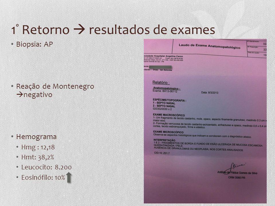 1º Retorno  resultados de exames