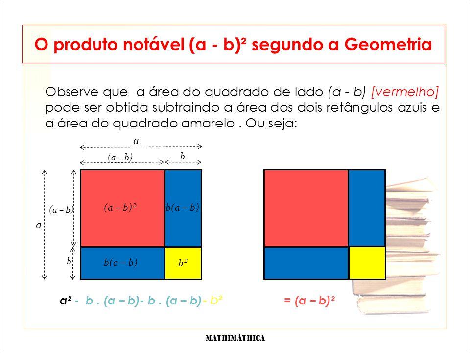 O produto notável (a - b)² segundo a Geometria