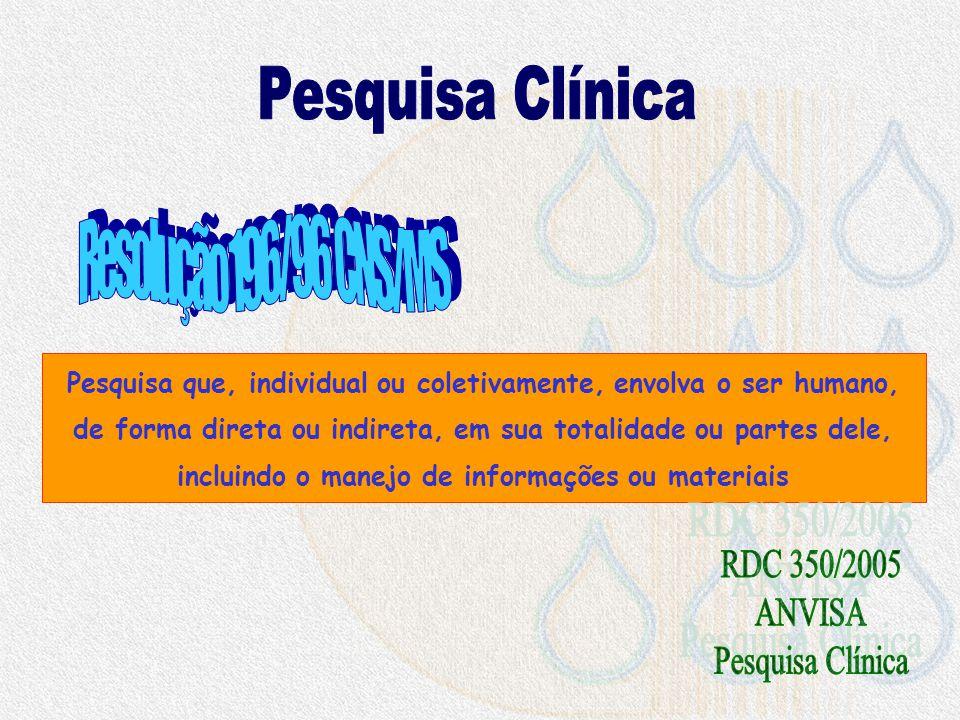 Pesquisa Clínica Resolução 196/96 CNS/MS RDC 350/2005 ANVISA