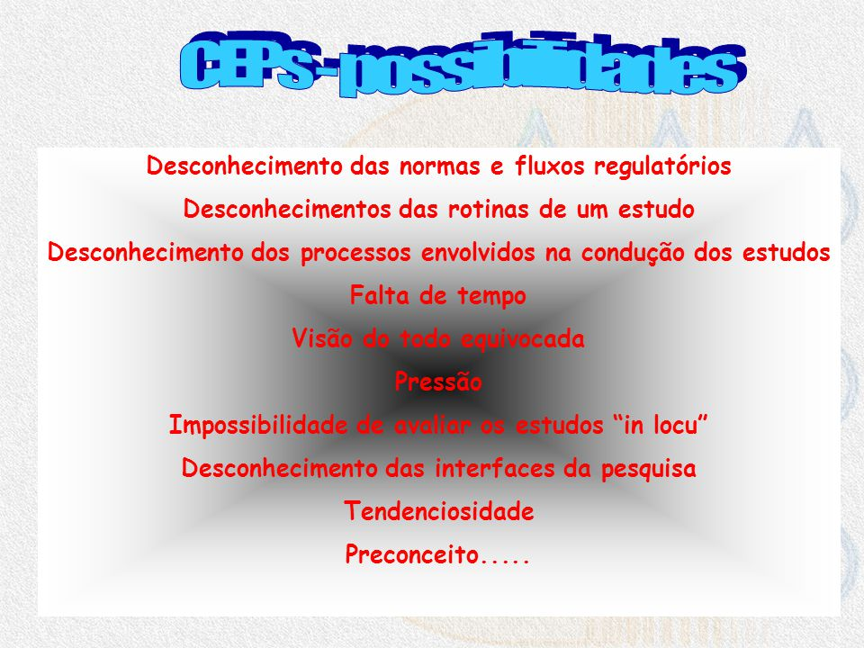 CEPs - possibilidades Desconhecimento das normas e fluxos regulatórios
