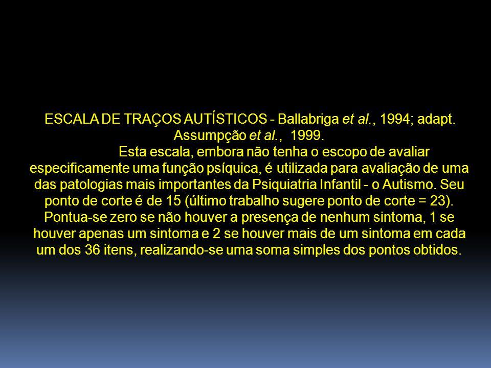 ESCALA DE TRAÇOS AUTÍSTICOS - Ballabriga et al. , 1994; adapt