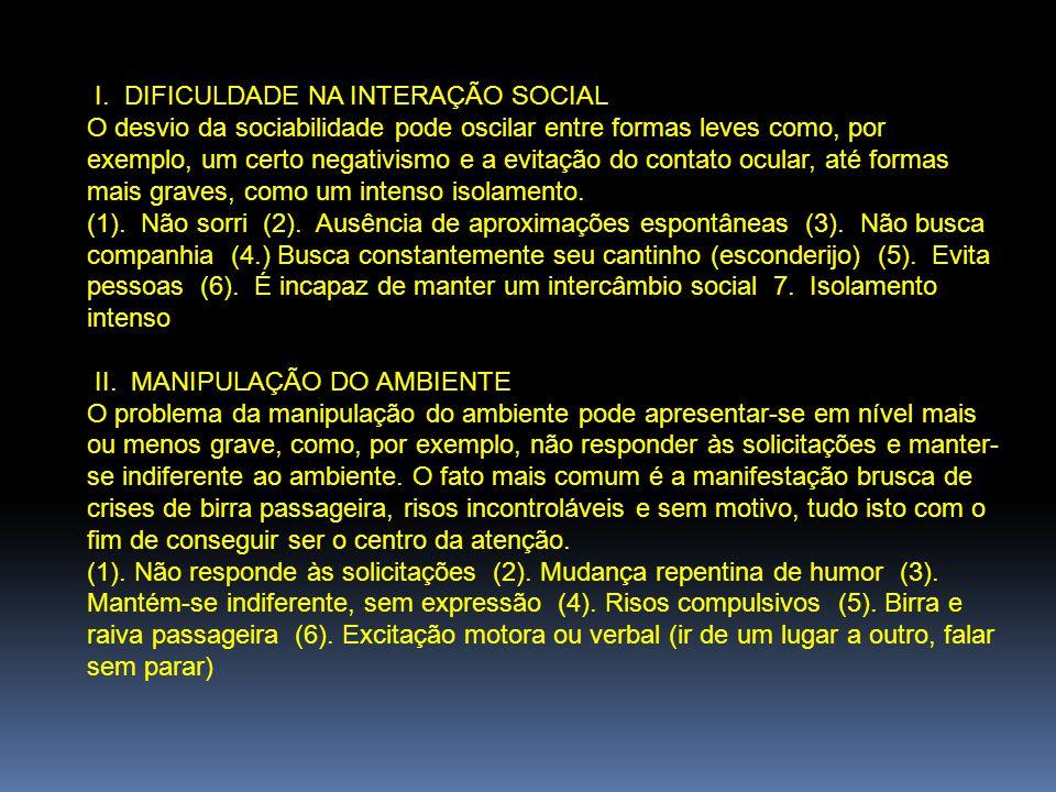 I. DIFICULDADE NA INTERAÇÃO SOCIAL