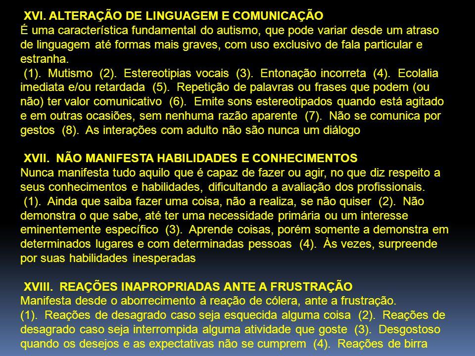 XVI. ALTERAÇÃO DE LINGUAGEM E COMUNICAÇÃO