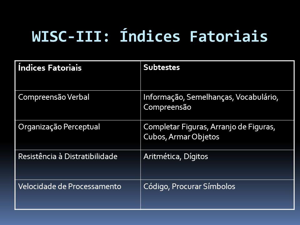 WISC-III: Índices Fatoriais
