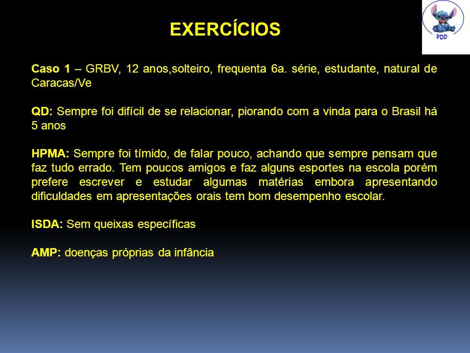 EXERCÍCIOS Caso 1 – GRBV, 12 anos,solteiro, frequenta 6a. série, estudante, natural de Caracas/Ve.