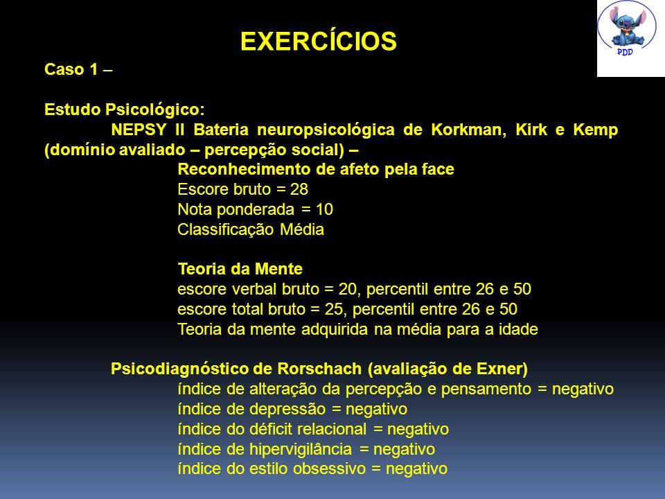 EXERCÍCIOS Caso 1 – Estudo Psicológico: