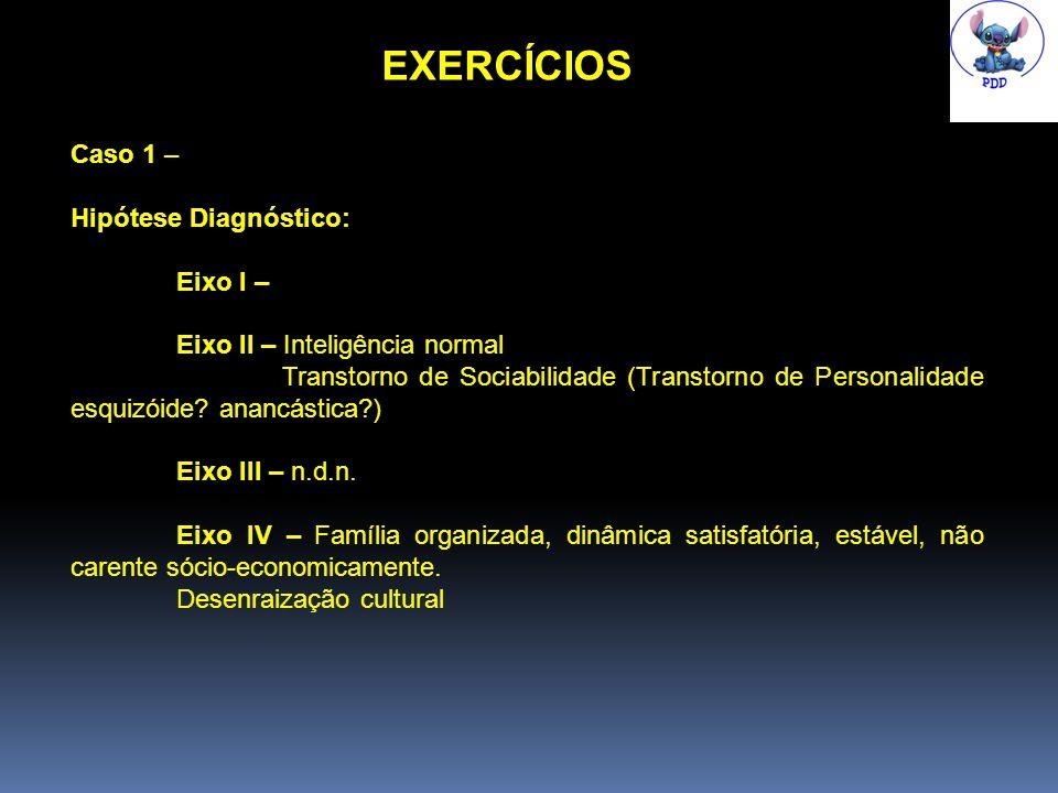 EXERCÍCIOS Caso 1 – Hipótese Diagnóstico: Eixo I –