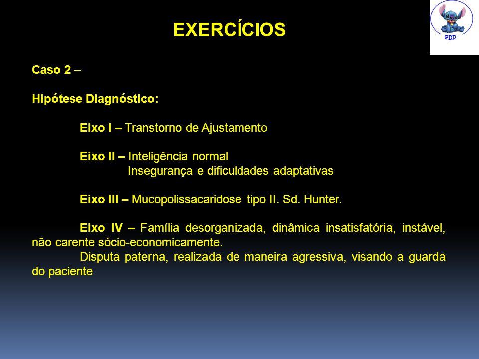 EXERCÍCIOS Caso 2 – Hipótese Diagnóstico: