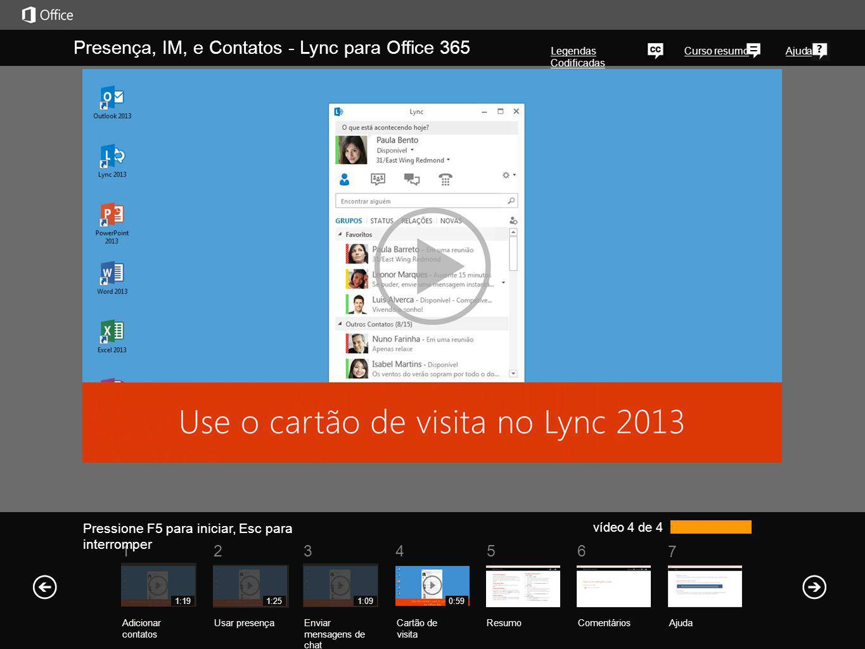 Presença, IM, e Contatos - Lync para Office 365