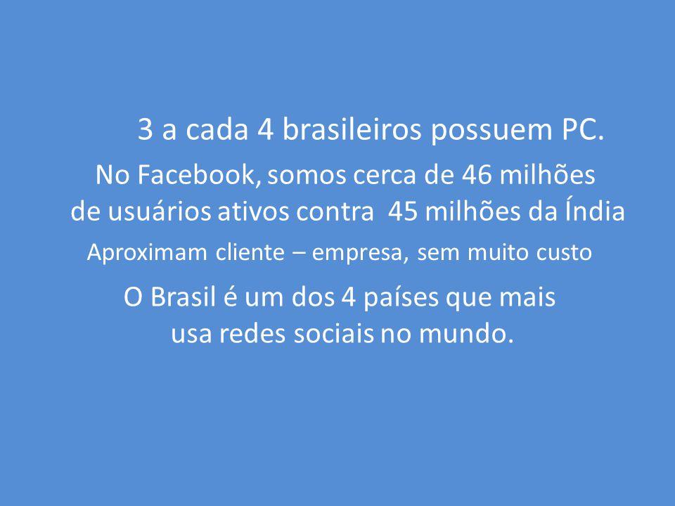 3 a cada 4 brasileiros possuem PC.