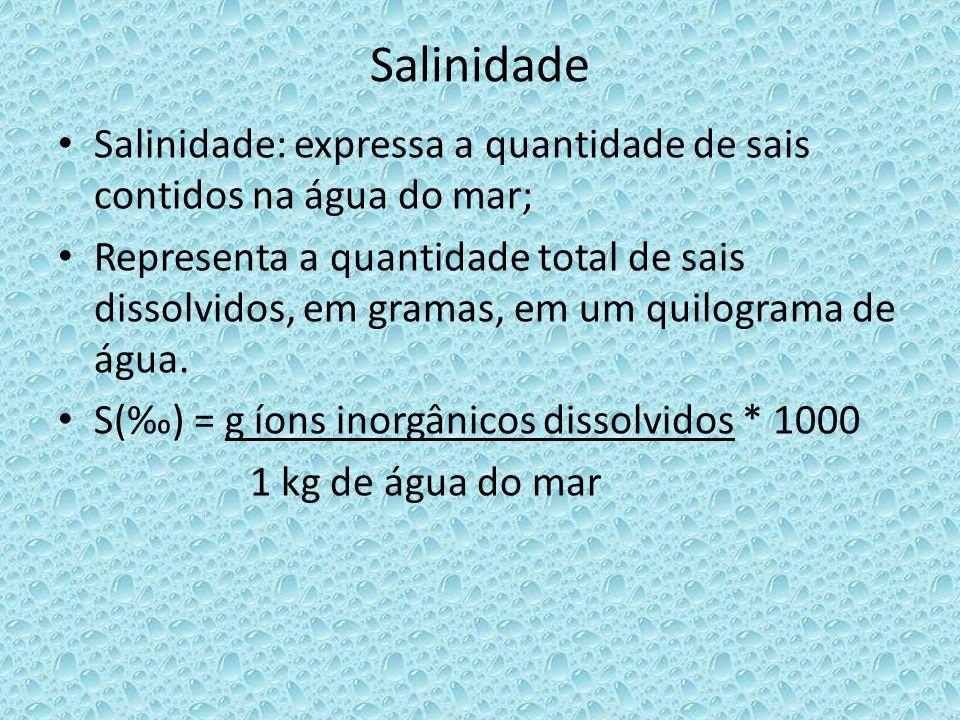 Salinidade Salinidade: expressa a quantidade de sais contidos na água do mar;