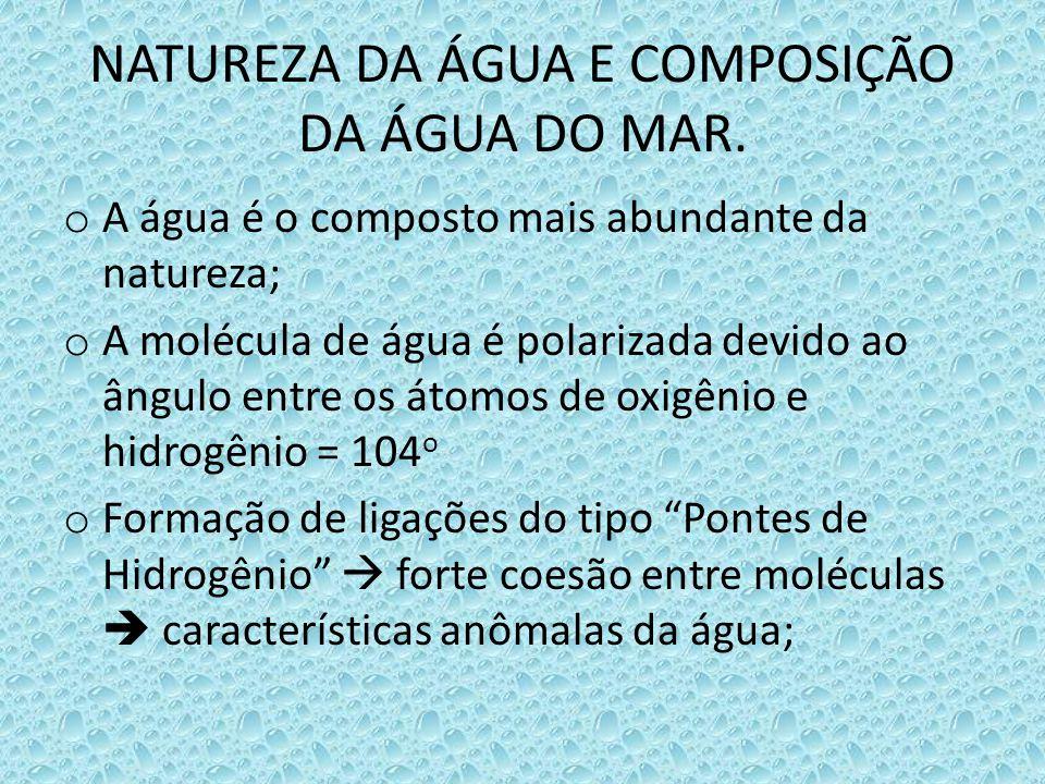 NATUREZA DA ÁGUA E COMPOSIÇÃO DA ÁGUA DO MAR.