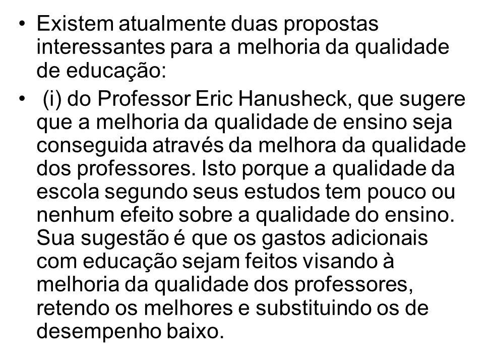 Existem atualmente duas propostas interessantes para a melhoria da qualidade de educação: