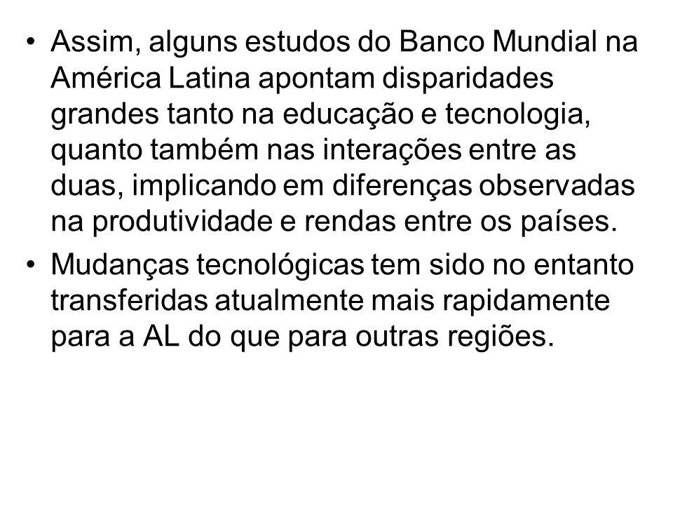 Assim, alguns estudos do Banco Mundial na América Latina apontam disparidades grandes tanto na educação e tecnologia, quanto também nas interações entre as duas, implicando em diferenças observadas na produtividade e rendas entre os países.