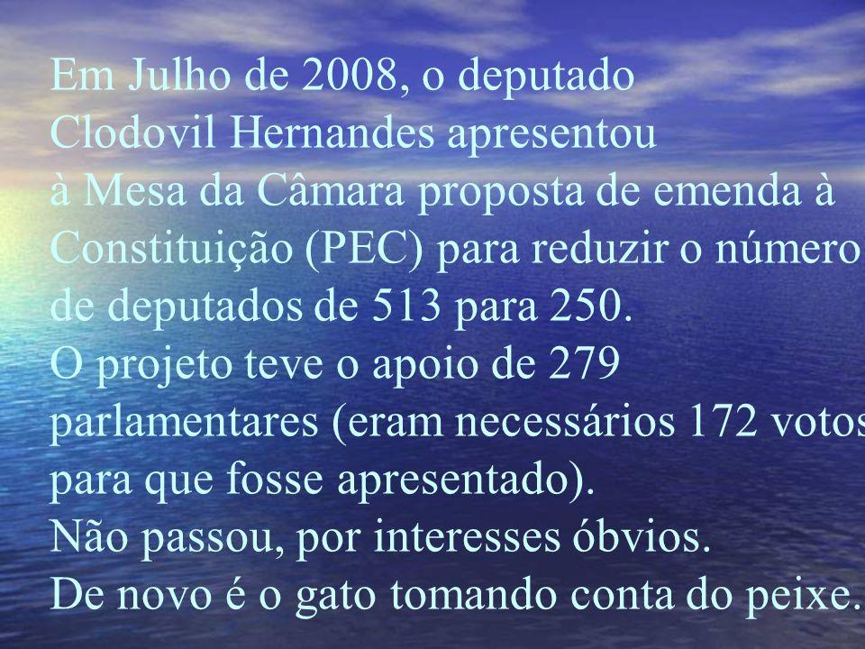 Em Julho de 2008, o deputado Clodovil Hernandes apresentou à Mesa da Câmara proposta de emenda à Constituição (PEC) para reduzir o número de deputados de 513 para 250.
