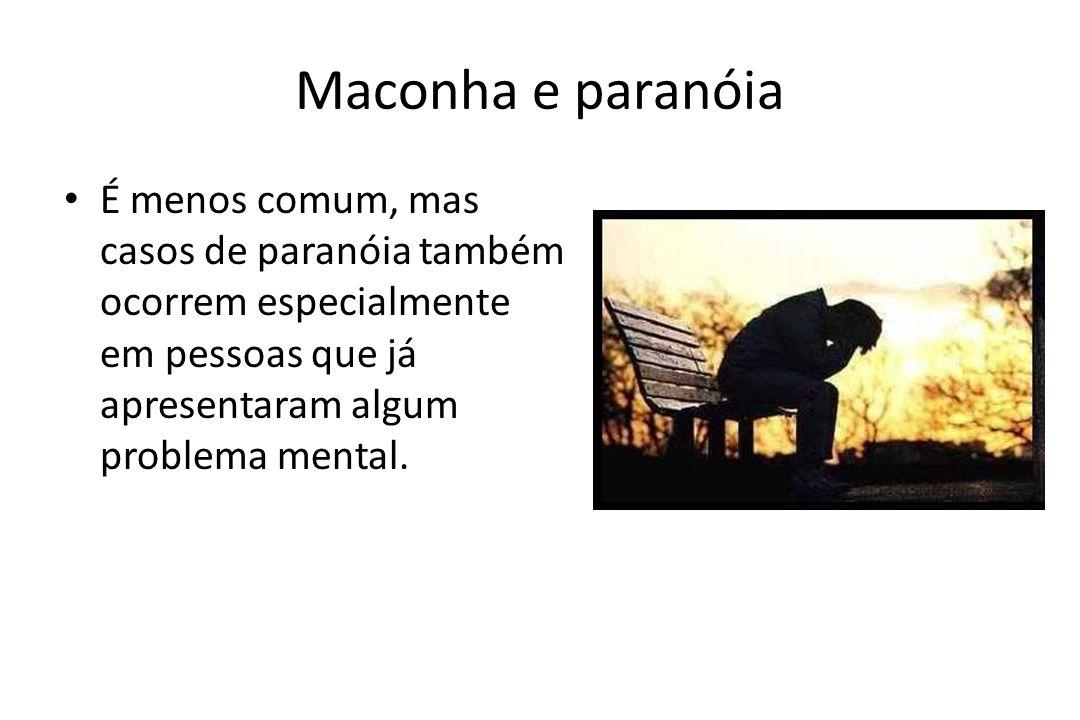 Maconha e paranóia É menos comum, mas casos de paranóia também ocorrem especialmente em pessoas que já apresentaram algum problema mental.