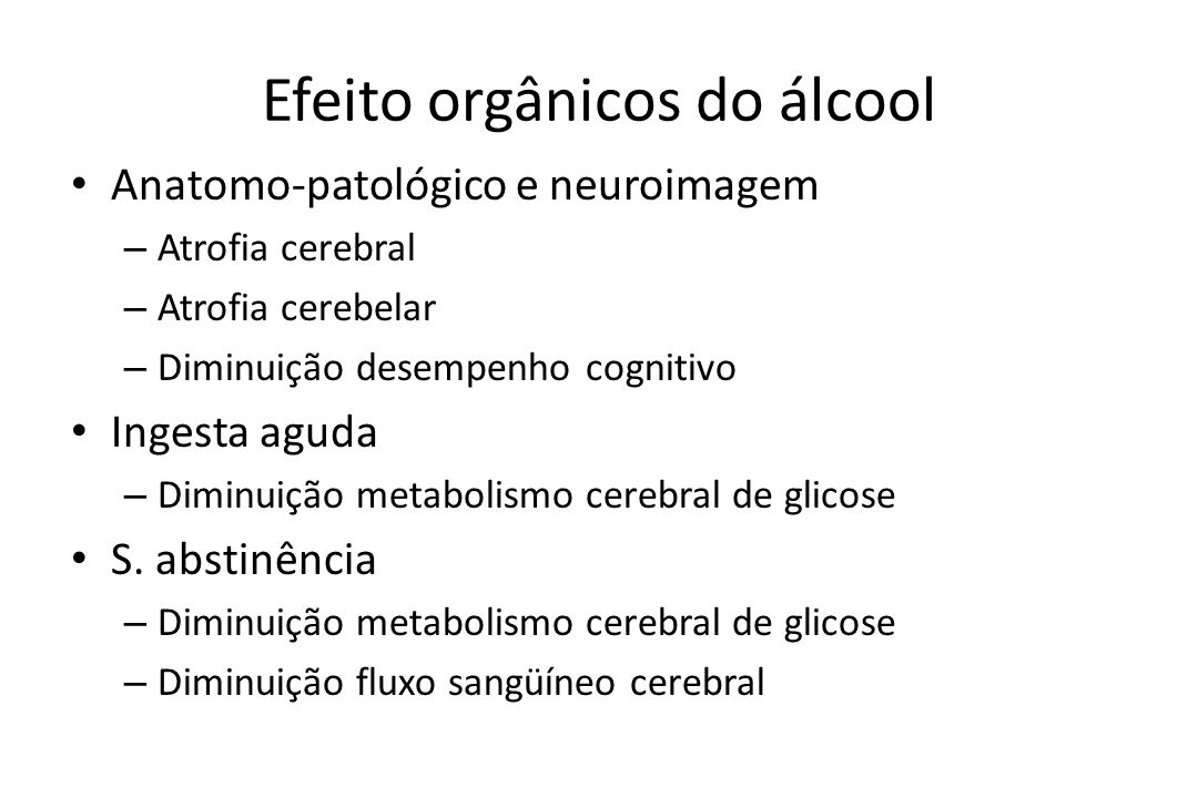 Efeito orgânicos do álcool
