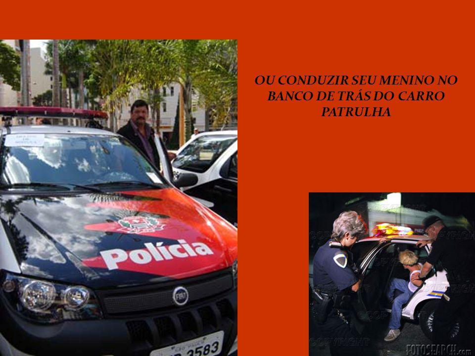 OU CONDUZIR SEU MENINO NO BANCO DE TRÁS DO CARRO PATRULHA