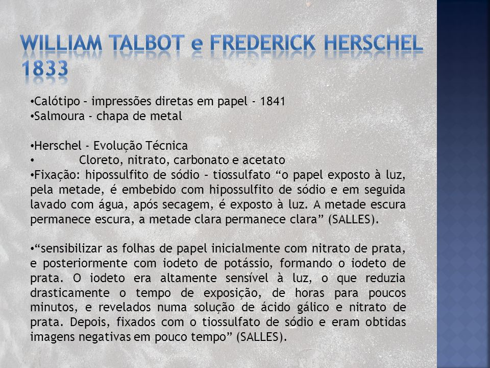 William Talbot e frederick herschel 1833