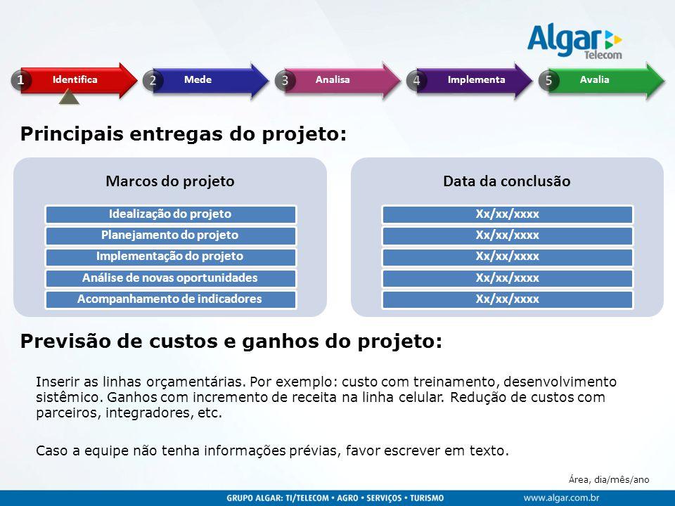 Principais entregas do projeto: