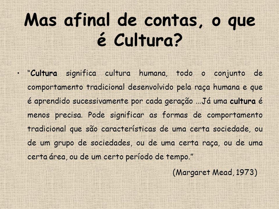 Mas afinal de contas, o que é Cultura