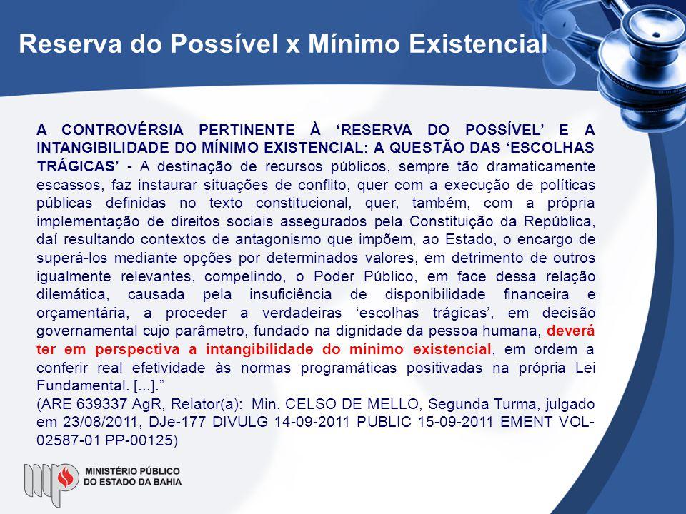 Reserva do Possível x Mínimo Existencial