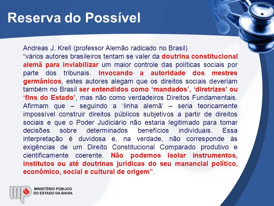 Reserva do Possível Andreas J. Krell (professor Alemão radicado no Brasil)