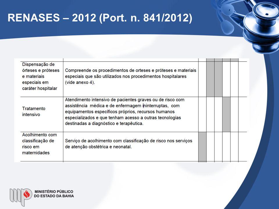 RENASES – 2012 (Port. n. 841/2012)