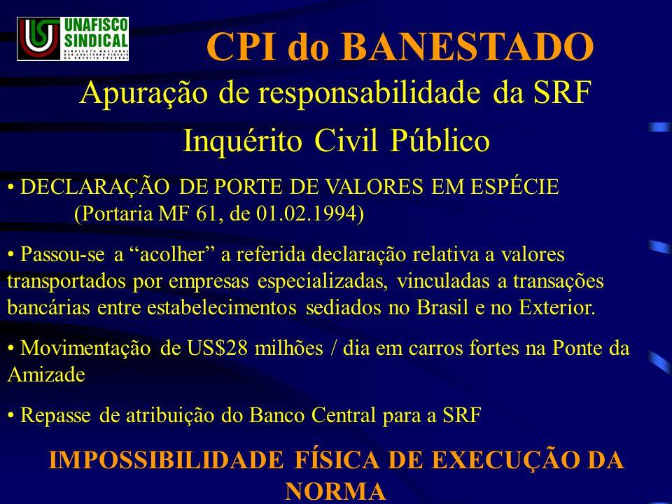 IMPOSSIBILIDADE FÍSICA DE EXECUÇÃO DA NORMA
