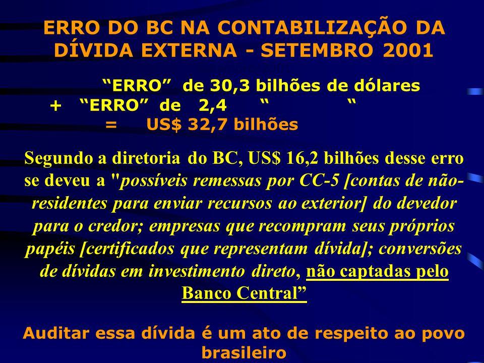ERRO DO BC NA CONTABILIZAÇÃO DA DÍVIDA EXTERNA - SETEMBRO 2001