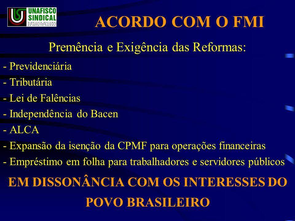 EM DISSONÂNCIA COM OS INTERESSES DO POVO BRASILEIRO