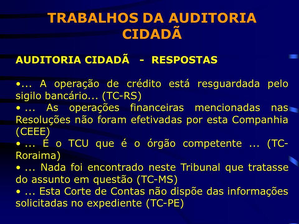 TRABALHOS DA AUDITORIA CIDADÃ