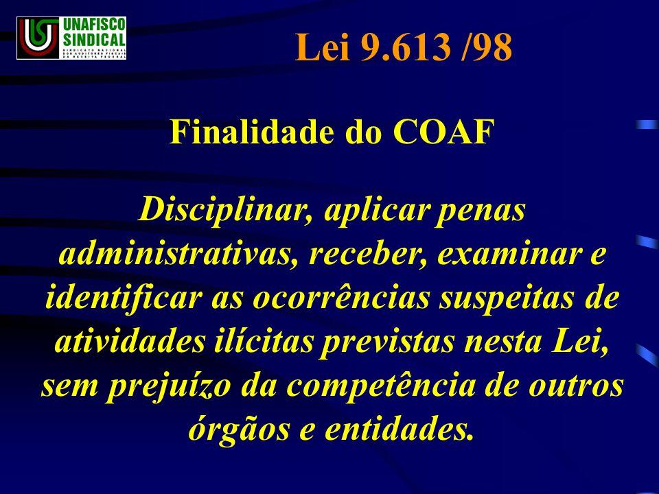 Lei 9.613 /98 Finalidade do COAF