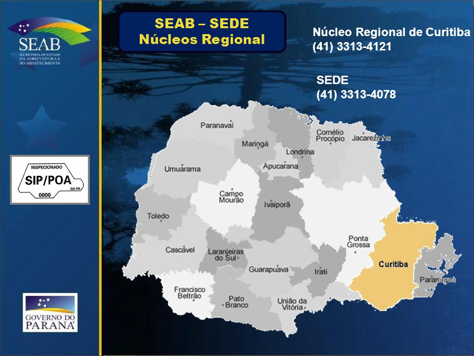 SEAB – SEDE Núcleos Regional Núcleo Regional de Curitiba