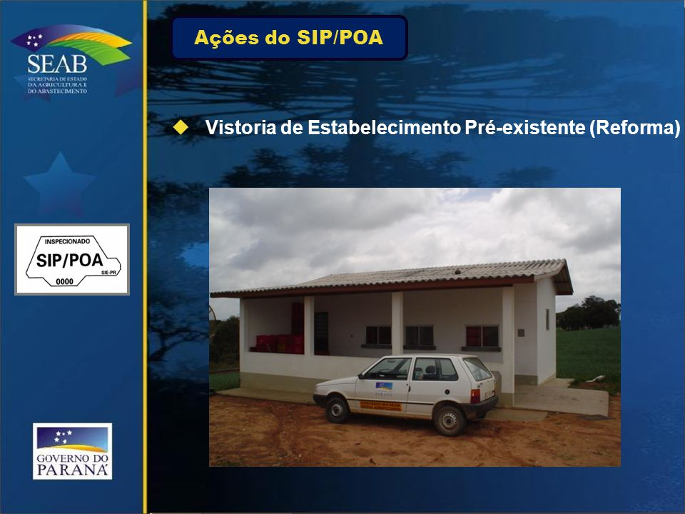 Ações do SIP/POA Vistoria de Estabelecimento Pré-existente (Reforma)