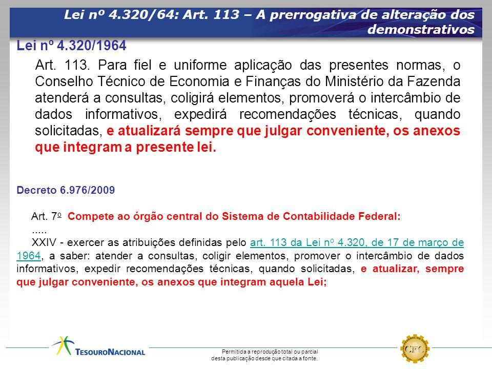 Lei nº 4.320/64: Art. 113 – A prerrogativa de alteração dos demonstrativos
