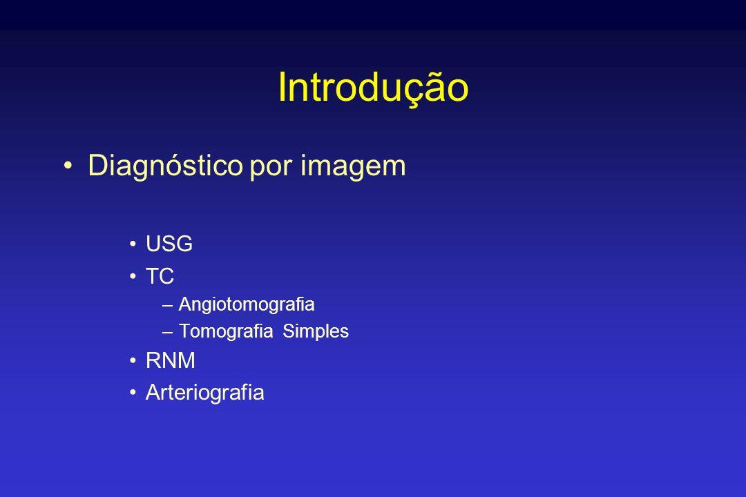 Introdução Diagnóstico por imagem USG TC RNM Arteriografia